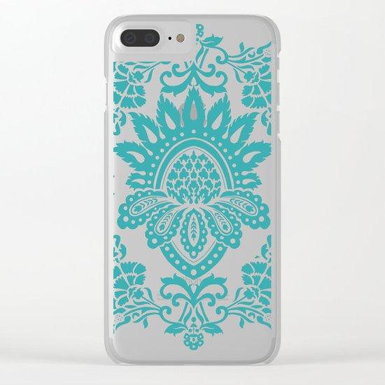 Damask in emerald Clear iPhone Case