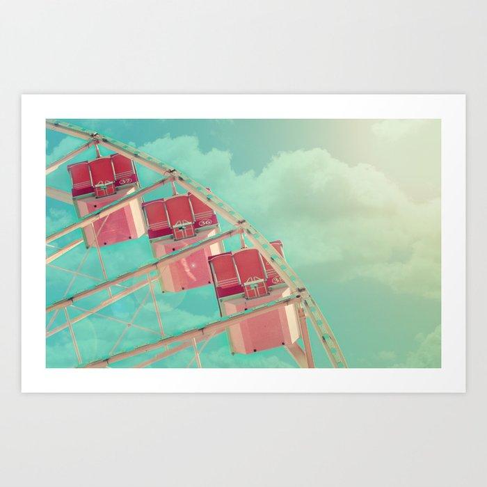 Cotton Candy Dreams Ferris Wheel Print Shabby Chic Vintage Carnival Nursery Decor