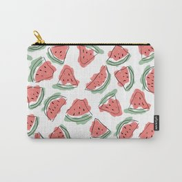 Modern Artsy Watercolor Coral Mint Black Watermelon Carry-All Pouch