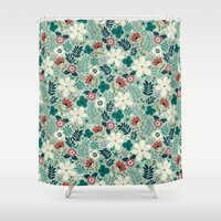 garden Shower Curtains featuring Flower Garden by Anna Deegan