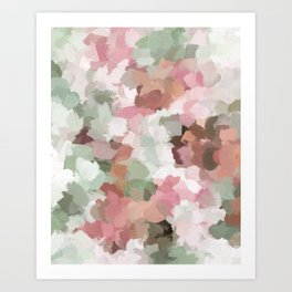 Sage Mint Green Fuchsia Blush Pink Abstract Flower Wall Art, Springtime Painting Print, Modern Wall Art Print