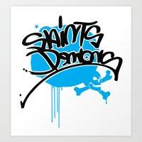 Saints Demonz Handsyle Logo Art Print