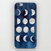 moon phases iPhone & iPod Skins featuring Moon phases by Bridget Davidson
