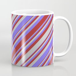 Medium Slate Blue, Brown, and Grey Colored Pattern of Stripes Coffee Mug
