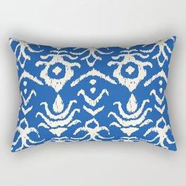 Blue Ikat Damask Print Rectangular Pillow