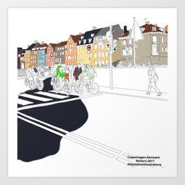Copenhagen,Nyhavn illustration by blackblomillustrations Art Print