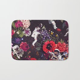 Flowers and Astronauts Bath Mat