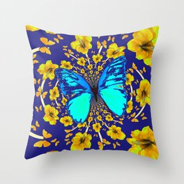 TURQUOISE BLUE YELLOW AMARYLLIS BUTTERFLY ART Throw Pillow