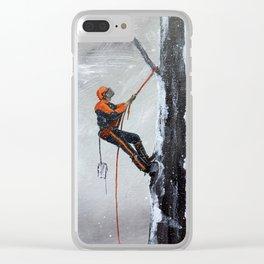 Arborist ,Tree Surgeon using stihl 020T chainsaw,husqvarna, art Clear iPhone Case