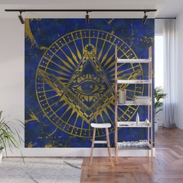 All Seeing Mystic Eye in Masonic Compass on Lapis Lazuli Wall Mural