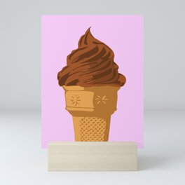 Chocolate Soft Serve Ice Cream Sugar Cone Mini Art Print
