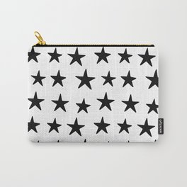 Star Pattern Black On White Carry-All Pouch