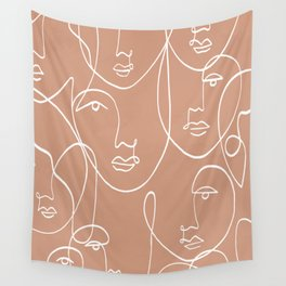 Multi Faces Line Art  Wall Tapestry