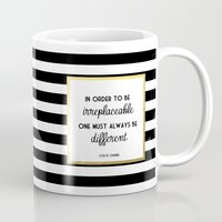 coco Mugs featuring Coco Gold Irreplaceable Fashion Quote by poppy loves to groove