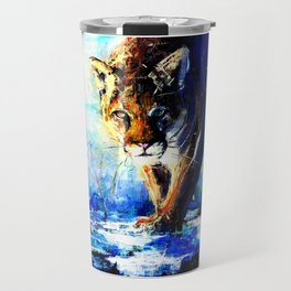 portrait of a creepin' cougar, in orange and blue Travel Mug