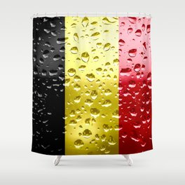 Flag of Belgium - Raindrops Shower Curtain