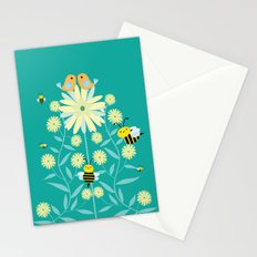 Bees, birds and flowers Stationery Cards