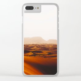 Minimalist Desert Landscape Sand Dunes With Distant Mountains Clear iPhone Case