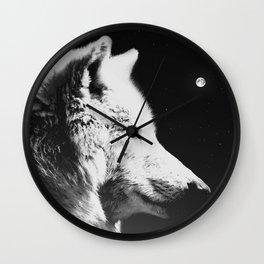 Wolf night | Wolves | Wolf pillow | Starry night | White wolf Wall Clock