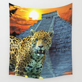 Chichen Itza Temple Guardian - South American Jaguar Wall Tapestry