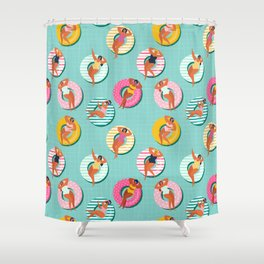 Summer gils on inflatable in swimming pool floats. Shower Curtain