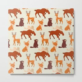 Forest Animal Pattern Metal Print