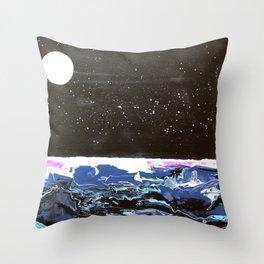 Moon over a rough sea. Throw Pillow