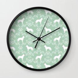 Australian Kelpie dog pattern silhouette mint florals minimal dog breed art gifts Wall Clock
