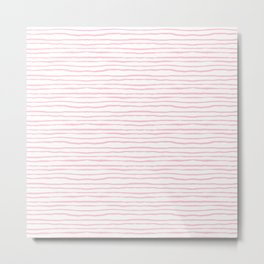 light pink wavy stripes Metal Print