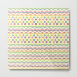 Polka dots and stripes Metal Print