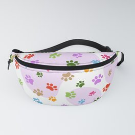 Colorful Dog paw pattern. Digital illustration. Fanny Pack