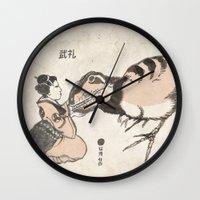 bouletcorp Wall Clocks featuring Geisha & Baby T-Rex by Bouletcorp