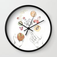 cooking Wall Clocks featuring Happy Cooking by Ana Mendes
