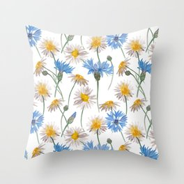 Chamomiles and blue cornflowers Throw Pillow