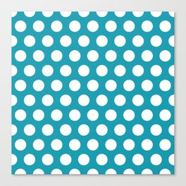 Turquoise and White Polka Dots 772 Canvas Print