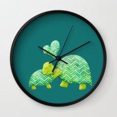 Turtle Hugs Wall Clock