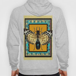 BUTTERFLY WESTERN YELLOW-ORANGE-TURQUOISE INSECT  PATTERNS Hoody