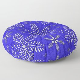 DP044-10 Silver snowflakes on blue Floor Pillow