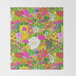 60's Groovy Garden in Lime Green Throw Blanket