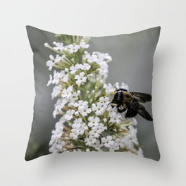 Bumblebee on the White Butterfly Bush in Ohio Throw Pillow