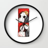 50s Wall Clocks featuring Romantic 50s Photobooth by Feronia Parker Thomas