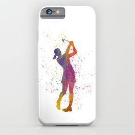 Female golf player competing in watercolor 04 iPhone Case