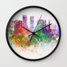Omaha V2 skyline in watercolor background Wall Clock