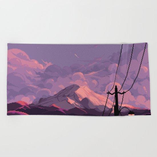 Mt Rainier with Powerlines Beach Towel