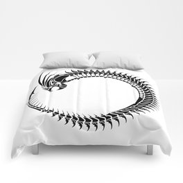 Black dragon tribal tattoo design Comforters