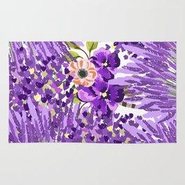 Lilac violet lavender lime green floral illustration Rug