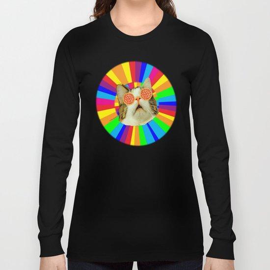 pizza loving cat Long Sleeve T-shirt