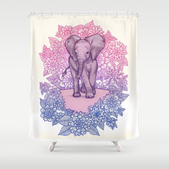 Cute Baby Elephant In Pink Purple Amp Blue Shower Curtain