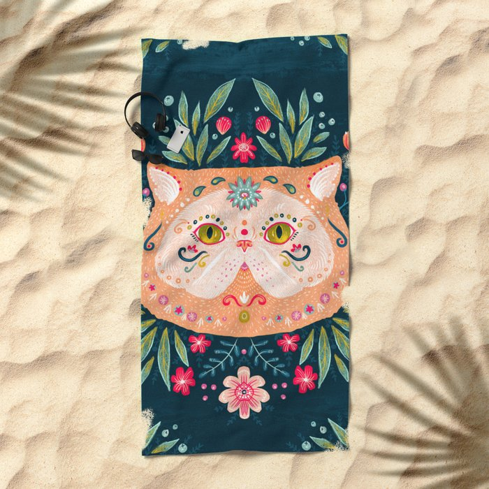 Candied Sugar Skull Kitty Beach Towel