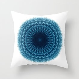 Mandala of Quantum Abundance (blue) Throw Pillow